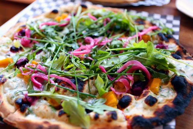 Roasted beet and argula pizza from Capanna in Saskatoon copy